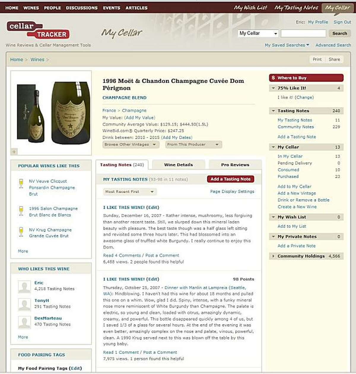 A screen shot of a review page for the 1996 Dom Perignon Champagne from the forthcoming release of the new Cellartracker.com site.
