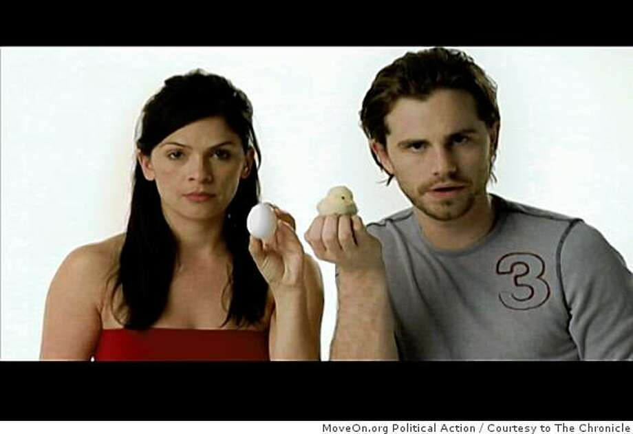 "This Barack Obama campaign debuted on Comedy Central and is a sign that the youth vote will be a deciding vote in this year's race. ""This is your brain,"" says the woman holding the egg. ""This is your brain on hope,"" says the man with the chick. Image courtesy of MoveOn.org Political Action Photo: MoveOn.org Political Action, Courtesy To The Chronicle"