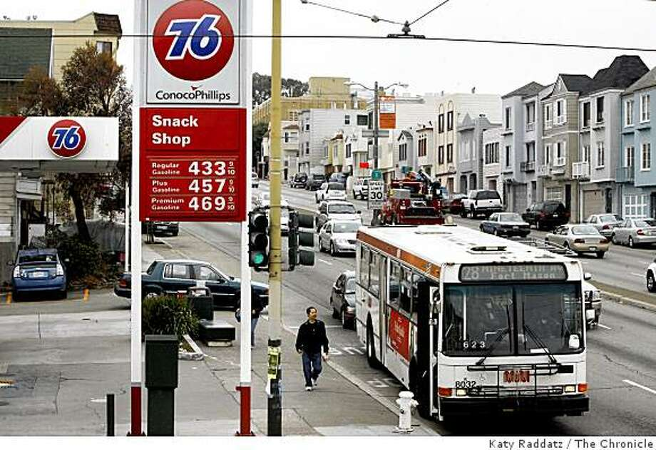 At the Conoco Phillips gas stations on two of the four corners of Judah and 19th Ave. gas prices seem to be going down especially for regular unleaded,  in San Francisco, Calif. on Monday,  July 28, 2008.Photo by Katy Raddatz / The Chronicle Photo: Katy Raddatz, The Chronicle