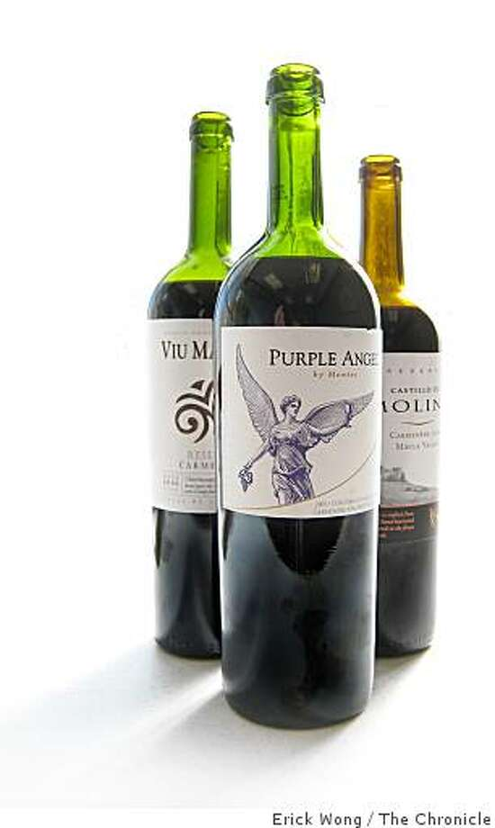 The Chronicle's Chilean Carmenere selections include (from left): 2006 Viu Manent Reserva Valle de Colchagua Carmenere, 2005 Purple Angel by Montes Colchagua Valley Carmenere? and 2006 San Pedro Castillo de Molina Reserva Maule Valley Carmenere. Photo: Erick Wong, The Chronicle