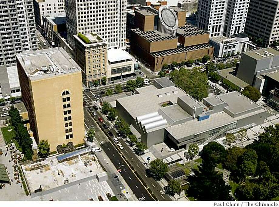 The proposed site of the Mexican Museum is seen, lower left, near Mission and Third streets in San Francisco, Calif., on Wednesday, July 30, 2008. Developers may have finally secured financing for the long-planned project. At right is the Yerba Buena Center for the Arts and SFMOMA, upper right.Photo by Paul Chinn / The Chronicle Photo: Paul Chinn, The Chronicle