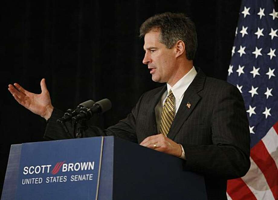 U.S. Sen.-elect Scott Brown, R-Mass.,  speaks at a news conference at a hotel, Wednesday, Jan. 20, 2010, in Boston. Brown was elected to fill the U.S. Senate seat left empty by the death of Sen. Edward M. Kennedy, D-Mass. Photo: Robert F. Bukaty, AP