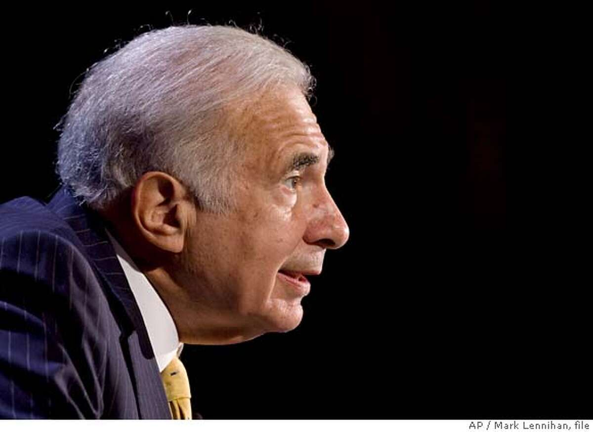 ** FILE ** In this Oct. 11, 2007 file photo, private equity investor Carl Icahn speaks at the World Business Forum in New York. Circuit City on Friday, May 9, 2008 revealed that it has received a letter from Blockbuster indicating that Icahn, the company's largest shareholder, is prepared to buy Circuit City on his own if Blockbuster can't get financing or can't get shareholder approval. (AP Photo/Mark Lennihan, file)