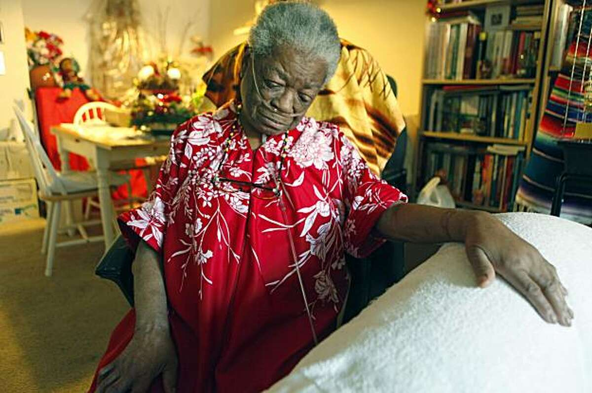 Ethel Richardson 73 sits in her Church Street apartment in San Francisco tethered to her oxygen tank 24/7 suffering from emphysema and a blood disorder that has caused clots in her legs that required surgery. Richardson relies on In Home Support Services, that Gov. Arnold Schwarzenegger is wants to make major cuts in along with state worker pay cuts. In his 2010-11, budget proposal that includes $8.5 billion in cuts Jan. 8, 2010