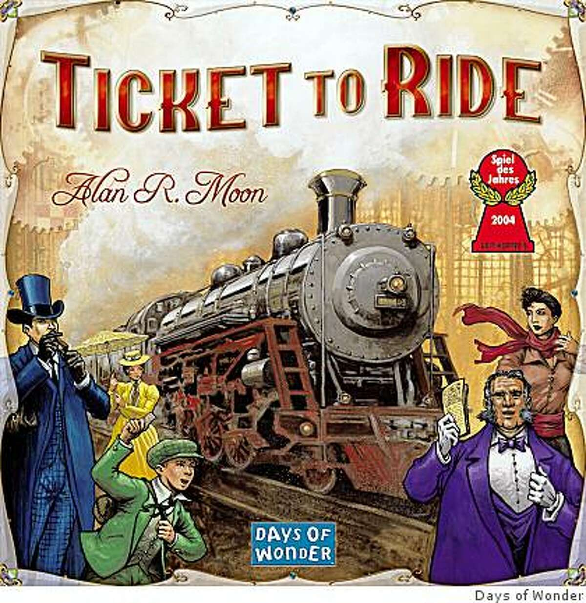 Box art of the Spiel des Jahres 2004 winner Ticket to Ride. Published by Days of Wonder. The board game retails for $50.