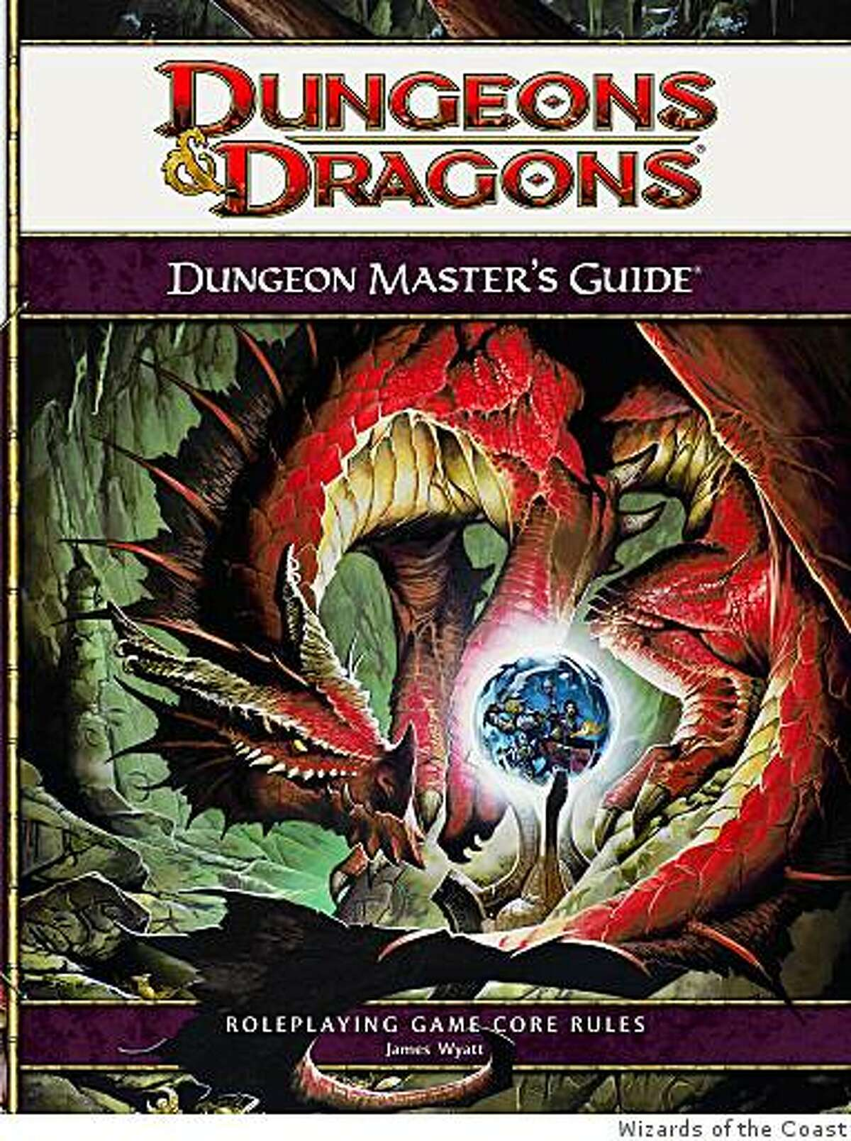 The book cover art of the fourth edition of Dungeons and Dragons: Dungeon Master's Guide. Published by Wizards of the Coast (subsidiary of Hasbro). The book retails for $34.95. The box set which includes the Dungeon Master's Guide, Player's Handbook and Monster Manual retails for $104.95.