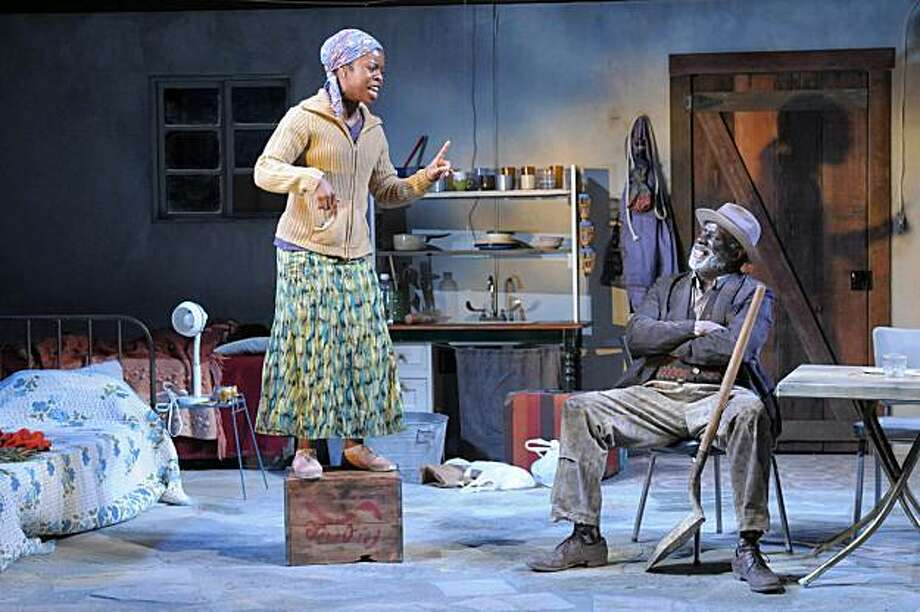 "Lou Ferguson (right) and (Rosyln Ruff, left) star as Oupa and Veronica Jonkers in Berkeley Rep's West Coast premiere of Athol Fugard's ""Coming Home"" Photo: Kevinberne.com"