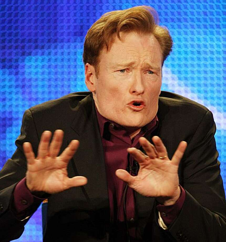 """LOS ANGELES, CA - JANUARY 15: (FILE PHOTO) Host Conan O'Brien of the television show """"The Tonight Show"""" attends the NBC Universal portion of the 2009 Winter Television Critics Association Press Tour at the Universal Hilton Hotel on January 15, 2009 in LosAngeles, California.  In a statement released by Conan O'Brien it was said that he will not follow Jay Leno and move """"The Tonight Show"""" to 12:05 a.m on NBC on January 12, 2010. Photo: Frederick M. Brown, Getty Images"""