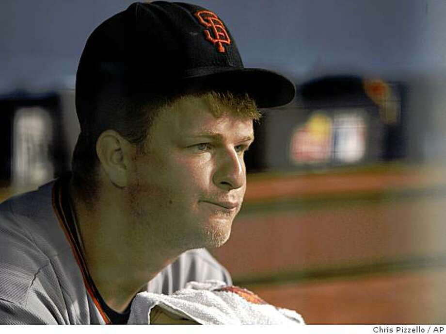 Giants starting pitcher Matt Cain sits on the bench after giving up two runs in the sixth inning of his fifth straight loss in Los Angeles. Photo: Chris Pizzello, AP