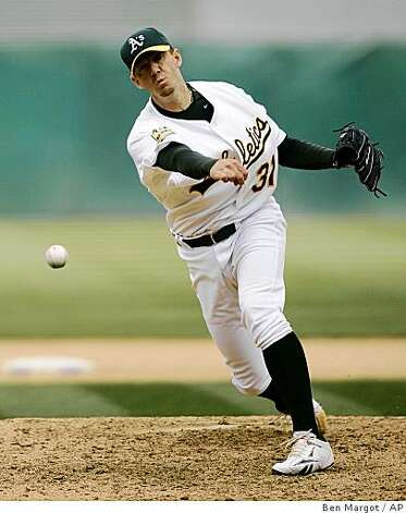 Oakland Athletics' Brad Ziegler works against the Texas Rangers in the seventh inning of a baseball game Sunday. Photo: Ben Margot, AP