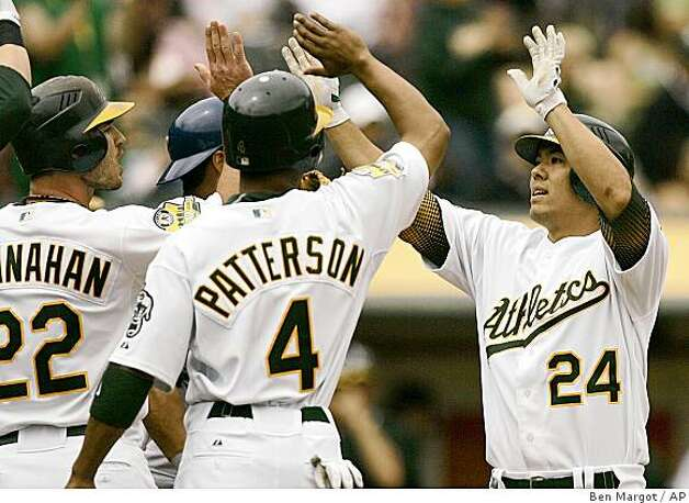 Oakland Athletics' Kurt Suzuki, right, is congratulated by teammates including Jack Hannahan (22) and Eric Patterson (4) after Suzuki hit a three-run home run off Texas Rangers' Eric Hurley in the second inning of a baseball game Sunday, July 27, 2008, in Oakland, Calif. (AP Photo/Ben Margot) Photo: Ben Margot, AP