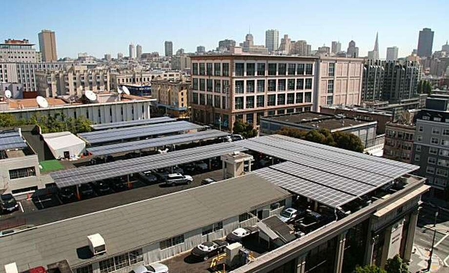 British Motor Car Distributors, which sells Jaguars, Bentleys and other luxury cars, has installed the largest solar array of any commercial business in San Francisco. Photo Courtesy of Solar City. Photo: Solar City, Courtesy To The Chronicle