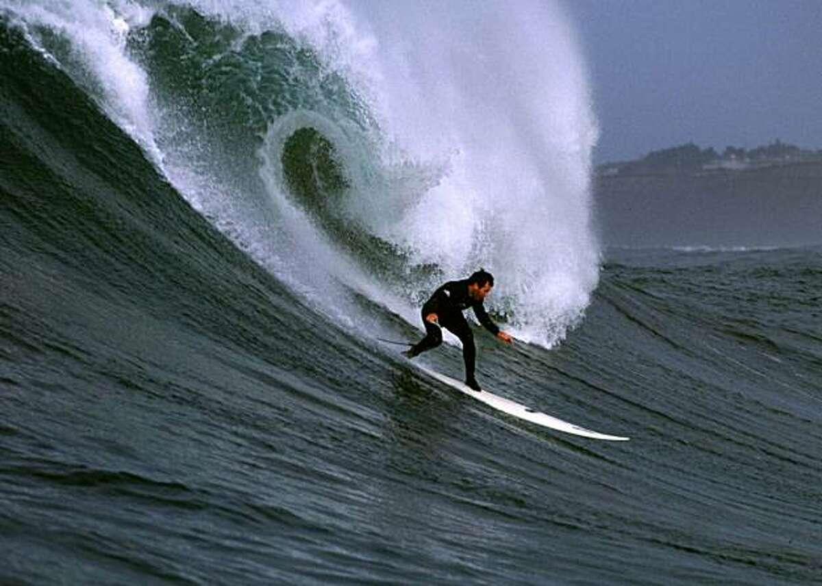 Jeff Clark surfs Mavericks in 1999.