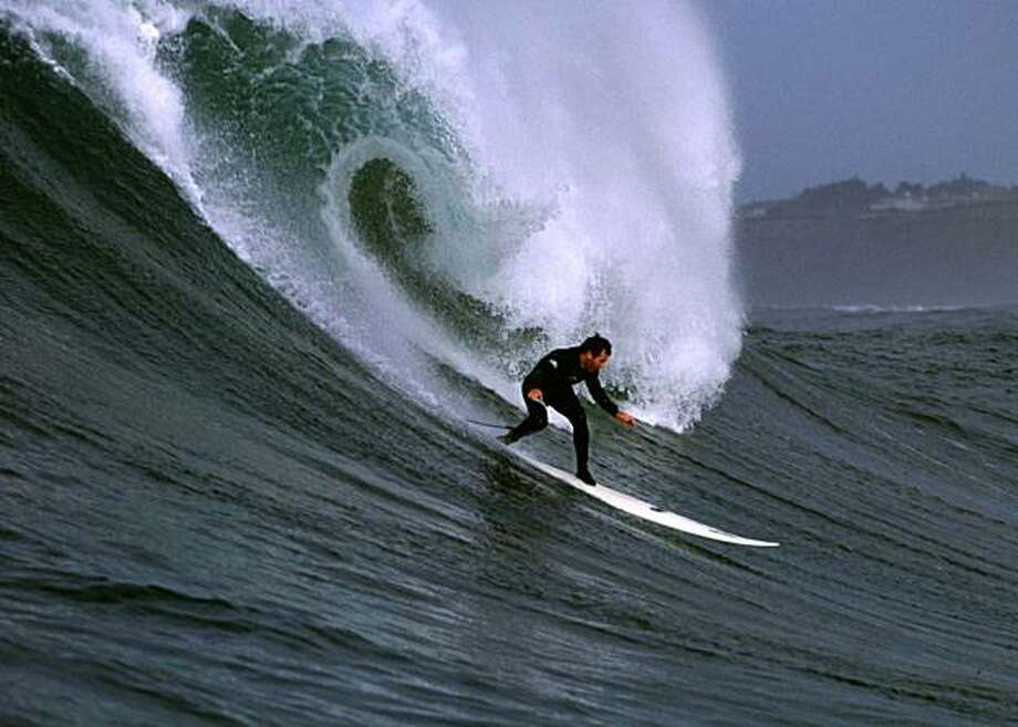 Jeff Clark surfs Mavericks in 1999. Photo: Frank Quirarte
