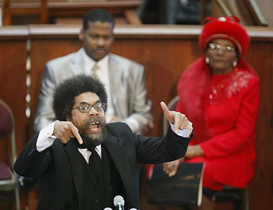 Keynote speaker Cornel West gestures as he speaks during the Martin Luther King Jr commemorative service at Ebenezer Baptist Church Monday, Jan. 18, 2010 in Atlanta. Photo: John Bazemore, AP