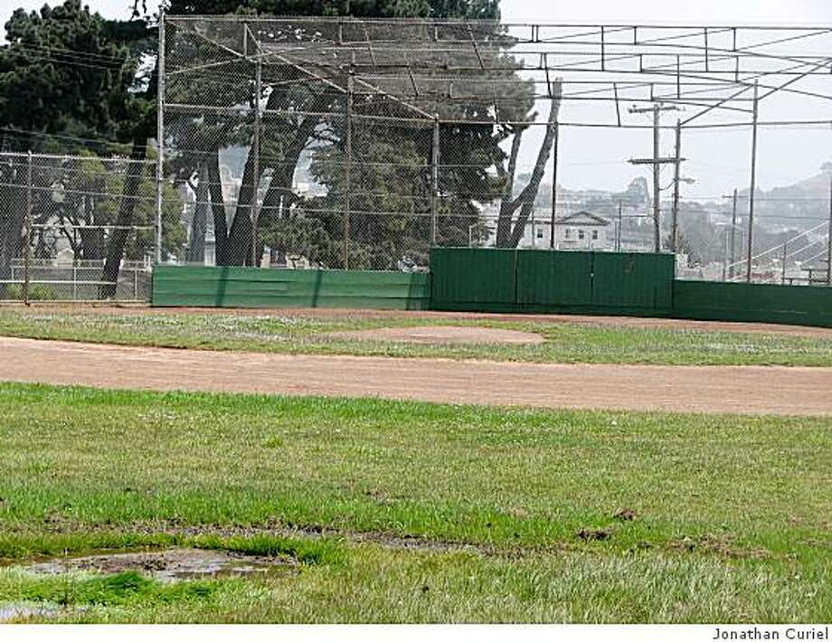 The baseball fields at Ocean and San Jose streets in San Francisco are marshy. Photo: Jonathan Curiel