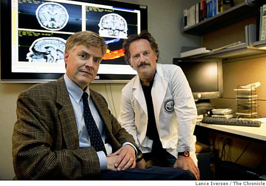 UCSF Dr Tom Neylan psychiatrist and UCSF senior scientist Norbert Schuff right teamed up at San Francisco V.A. Medical Center to research brain trauma and Post-Traumatic Stress Disorder. The center has now emerged as a leader in brain research on Iraq and Afghanistan war veterans.   Photographed in San Francisco, Wednesday July 23, 2008.  Photo by Lance Iversen / The Chronicle Photo: Lance Iversen, The Chronicle
