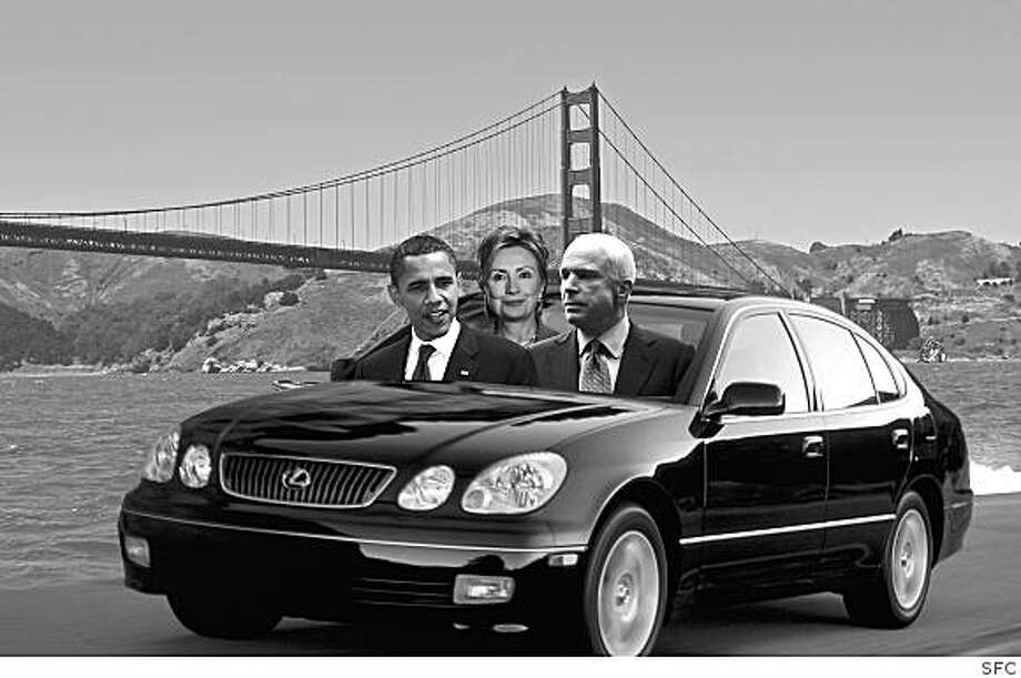 illustration for Mattier and Ross for 7/28.. obama, mccain, clinton all coming to SF Photo: SFC
