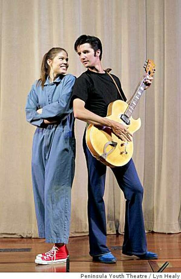 """Alison Koch of Los Altos and Nathaniel Rothrock of Portola Valley star in Peninsula Youth Theatre's produciton of """"All Shook Up,"""" which mixes Shakespeare and Elvis. Photo: Lyn Healy, Peninsula Youth Theatre"""
