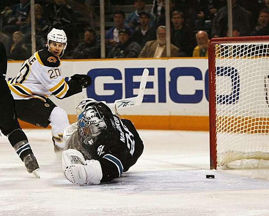 .Boston Bruins left wing Daniel Paille (20) looks back as he scores a goal past San Jose Sharks goalie Evgeni Nabokov, of Kazakhstan,  in the second period of an NHL hockey game in San Jose, Calif., Thursday, Jan. 14, 2010. Photo: Tony Avelar, AP