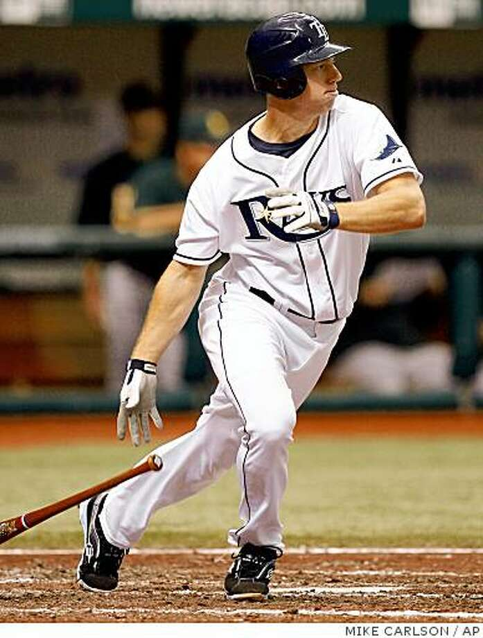 Tampa Bay Rays' Ben Zobrist watches his RBI single in the seventh inning of the Rays' 4-3 win over the Oakland Athletics in a baseball game Wednesday, July 23, 2008, in St. Petersburg, Fla.  (AP Photo/Mike Carlson) Photo: MIKE CARLSON, AP