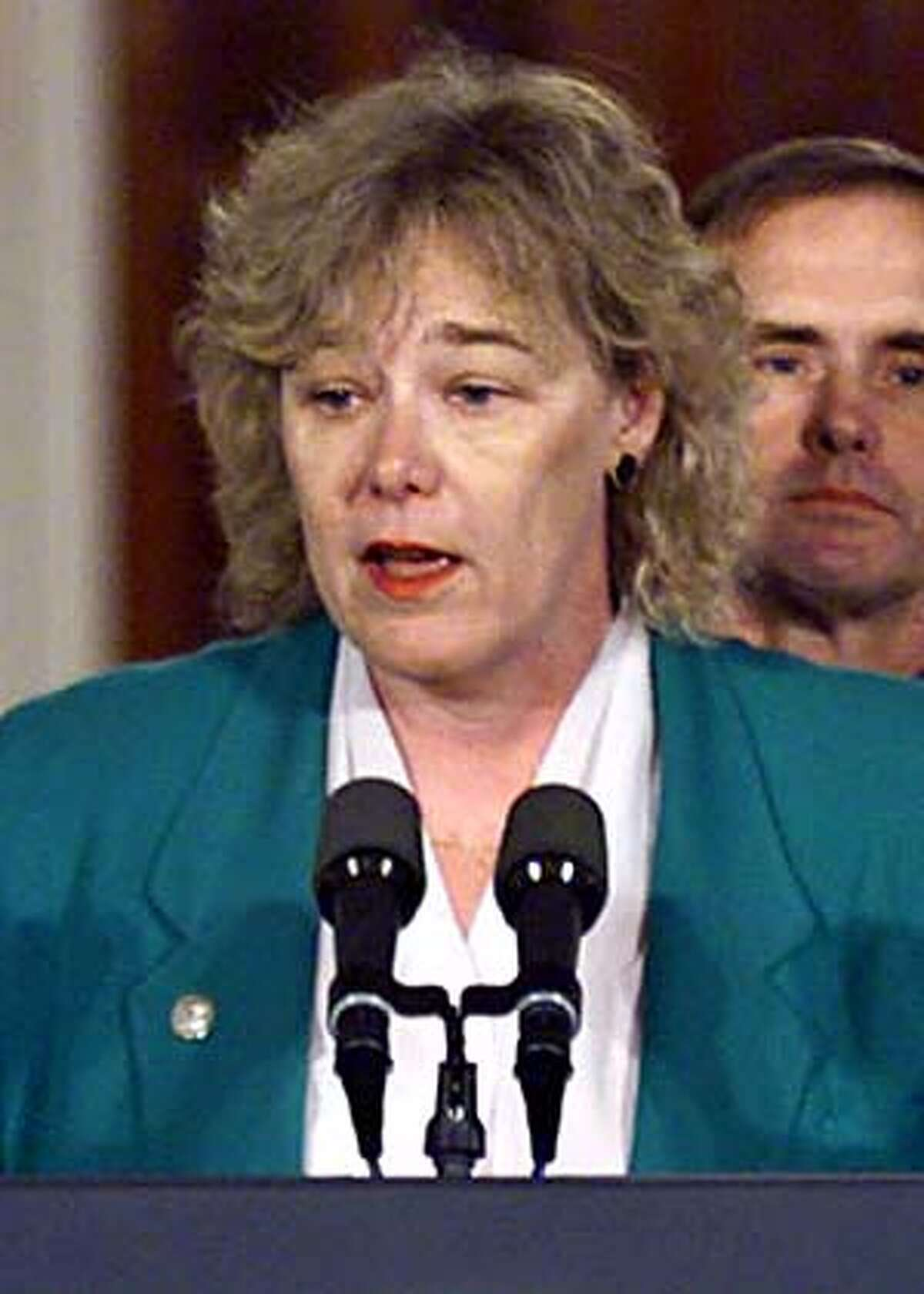 ** FILE ** Rep. Zoe Lofgren, D-CA, speaks as President Clinton and a bipartisan Congressional delegation gathered in the White House East Room to plea for legislators to resume gun safety talks on Capitol Hill, in this March 15, 2000 file photo. Susan Lindauer, 41, who worked for Lofgren in 2002, was arrested was arrested Thursday. march 11, 2004 on charges that she served as a paid agent for the Iraqi intelligence service before and after the U.S. invasion last year. (AP Photo/J. Scott Applewhite)