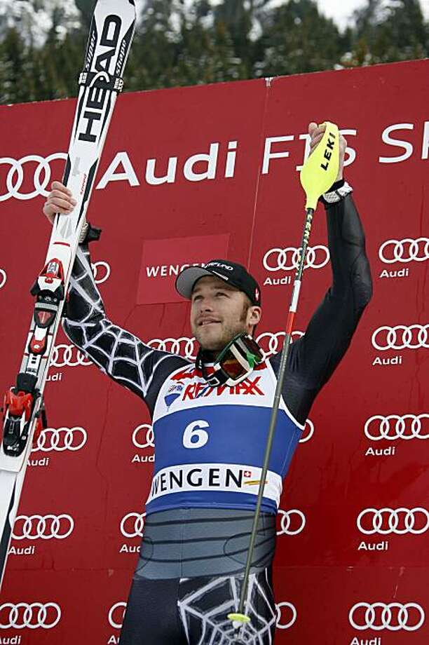 WENGEN, SWITZERLAND - JANUARY 15:  (FRANCE OUT) Bode Miller of the USA takes 1st place during the Audi FIS Alpine Ski World Cup Men's Super Combined on January 15, 2010 in Wengen, Switzerland. Photo: Alexis Boichard/Agence Zoom, Getty Images