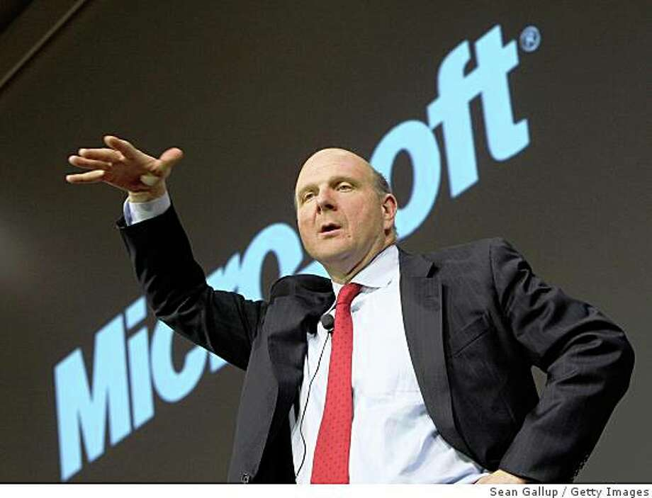 Microsoft Corp. chief executive Steve Ballmer said a deal with Yahoo Inc. may still make economic sense for shareholders of both companies, pushing Yahoo stock up 11 percent.Microsoft chief executive Steve Ballmer on Thursday defended his company?s large and so far unrewarded investment in online search and advertisingHANOVER, GERMANY - MARCH 03:  (FILE PHOTO) Microsoft CEO Steve Ballmer speaks at a press conference at the CeBIT technology fair a day before the fair's official opening on March 3, 2008 in Hanover, Germany. Microsoft dropped its $42.3 billion buyout offer to Yahoo, Inc. after failing to agree on a price May 3, 2008 in San Francisco, California.  (Photo by Sean Gallup/Getty Images) Photo: Getty Images