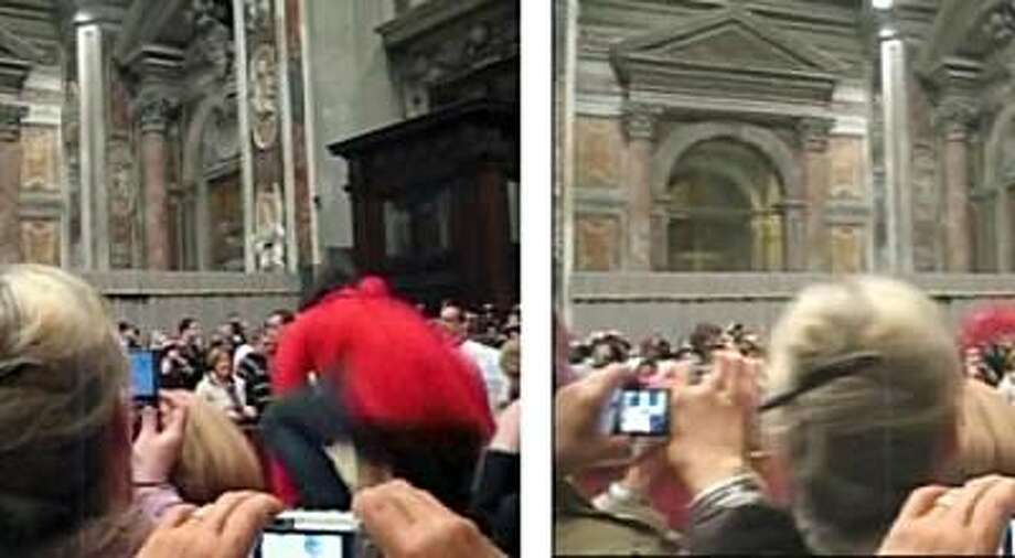 "FILE - In this file image sequence made from amateur video obtained by APTN Thursday Dec. 24, 2009, an unidentified woman, at right with red sweatshirt, jumps over the barricade towards Pope Benedict XVI as he walks down the main aisle to begin ChristmasEve Mass in St. Peter's Basilica in Vatican City on Thursday, Dec. 24, 2009. The Vatican said Wednesday Jan. 13, 2010, the pontiff has met with Maiolo who knocked him over during Christmas Eve Mass and forgiven her. Vatican spokesman the Rev. Federico Lombardi said Pope Benedict met with Susanna Maiolo and her relatives at the end of his general audience Wednesday. Lombardi reported that Maiolo told the pontiff she was sorry. Pope Benedict inquired about her health and ""wanted to demonstrate his forgive Photo: AP"