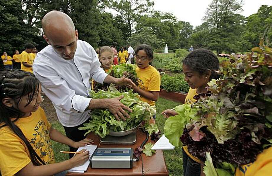 ** HOLD FOR RELEASE UNTIL 12:01 a.m. EST TUESDAY JAN. 12, 2010 ** FILE - This June 16, 2009 file photo shows fifth graders from Bancroft Elementary School and assistant White House Chef Sam Kass weighing some of the lettuce that they and first lady Michelle Obama harvested from the White House garden on the South Lawn. The garden has given the first lady a platform to speak about the country's childhood obesity problem, the benefits of eating fresh food,  growing your own, and to teach young children to appreciate vegetables. Photo: Alex Brandon, AP