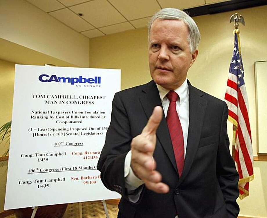 California gubernatorial candidate Tom Campbell announces during a news conference in Los Angeles Thursday, Jan. 14, 2010, that he is withdrawing from the governor's race and entering California's U.S. Senate race. Photo: Nick Ut, AP