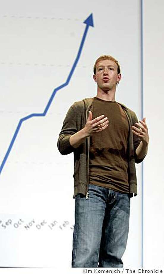 Facebook founder Mark Zuckerberg speaks at F8, Facebook's second annual developers' conference in San Francisco, Calif., on Wednesday, July 23, 2008 Photo by Kim Komenich / San Francisco Chronicle Photo: Kim Komenich, The Chronicle