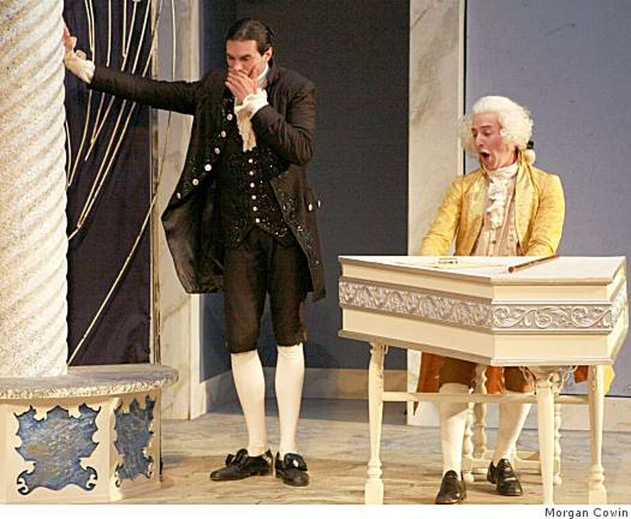 "William Elsman (left) as Salieri listens to Mozart (Drew Hirshfeld) play in Marin Shakespeare Company's production of ""Amadeus."" Photo: Morgan Cowin"