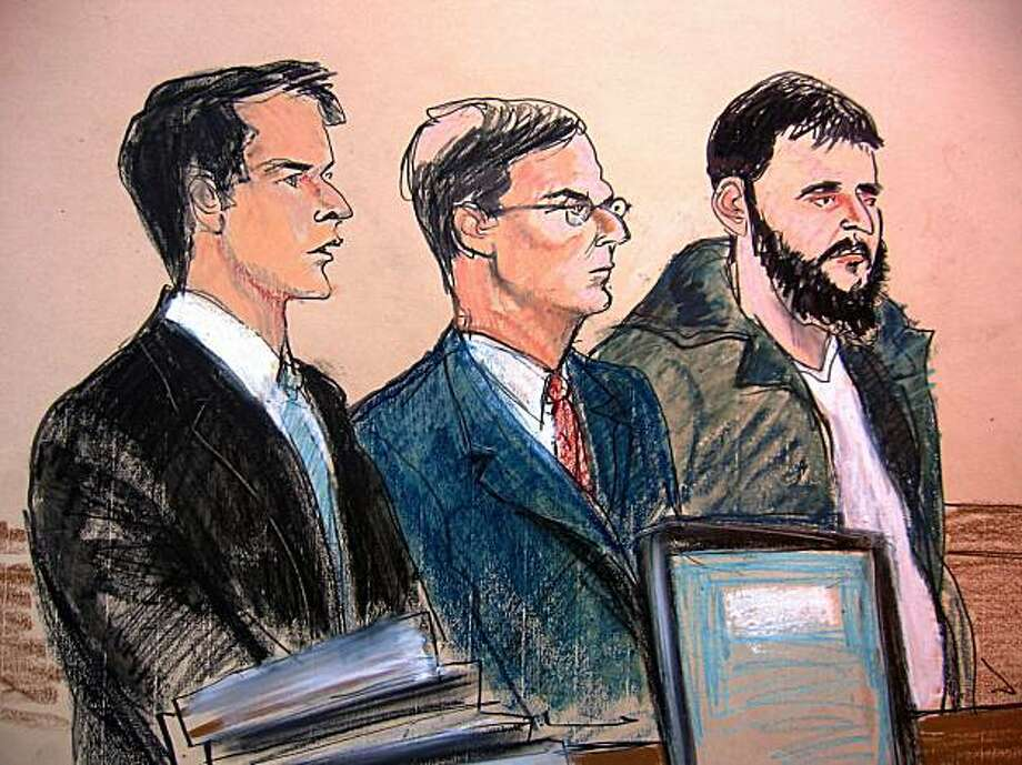 In this courtroom sketch, Assistant United States Attorney James Loonam, left, is seen with defense attorney Robert Gottlieb, center, and Gottlieb's client, defendant Adis Medunjanin, during Medunjanin's arraignment at the federal courthouse in New York City, Saturday, Jan. 9, 2010. Medunjanin pleaded not guilty to charges of receiving military training from a foreign terrorist organization and conspiracy to commit murder in a foreign country. Photo: Elizabeth Williams, AP