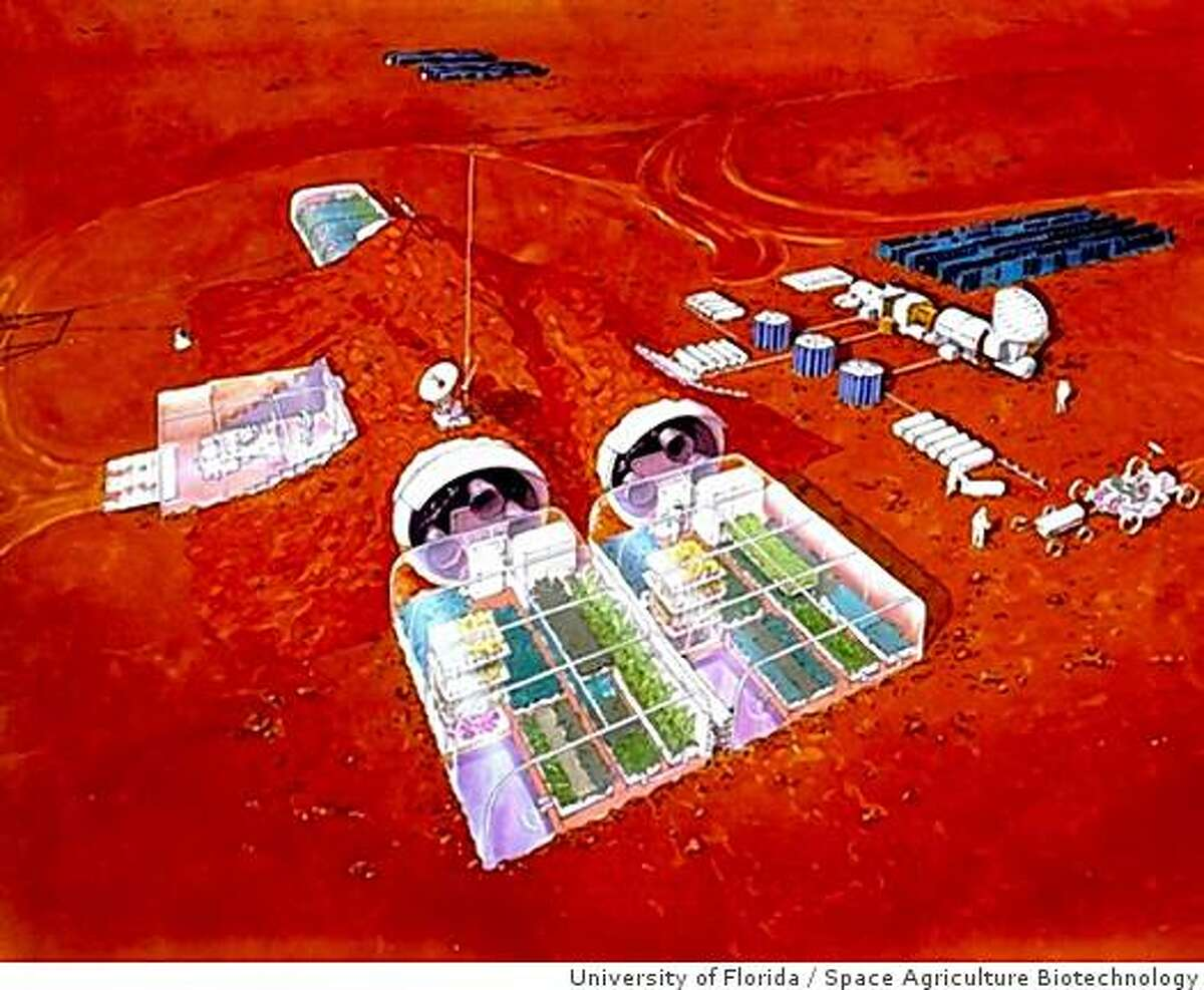An artistist's concept of a greenhouse for growing experimental plants on the moon and Mars.