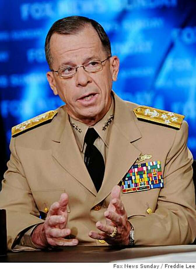 "In this photo provided by FOX News, Chairman of the Joint Chiefs of Staff Adm. Mike Mullen appears on ""Fox News Sunday""  in Washington, Sunday, July 20, 2008. (AP Photo/FOX News Sunday, Freddie Lee) MANDATORY CREDIT: FREDDIE LEE, FOX NEWS SUNDAY Photo: Freddie Lee, Fox News Sunday"