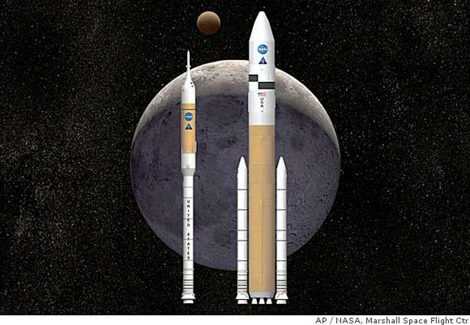 This artist rendering shows NASA's next-generation of moon rockets being developed at the Marshall Space Flight Center (MSFC) in Huntsville, Ala. Ares I, left, is the crew launch vehicle that will carry astronauts to space. Ares V is the cargo launch vehicle that will deliver the lunar lander and other large hardware to space.  By day, the engineers in Huntsville, work on NASA's new Ares moon rockets. By night, some go undercover, working on a competing design. These dissenters and their backers say their alternative rocket would be safer, cheaper and easier to build than the two Ares spacecraft, which have already cost NASA $7 billion. (AP Photo/NASA, Marshall Space Flight Center) Photo: NASA, Marshall Space Flight Ctr, AP