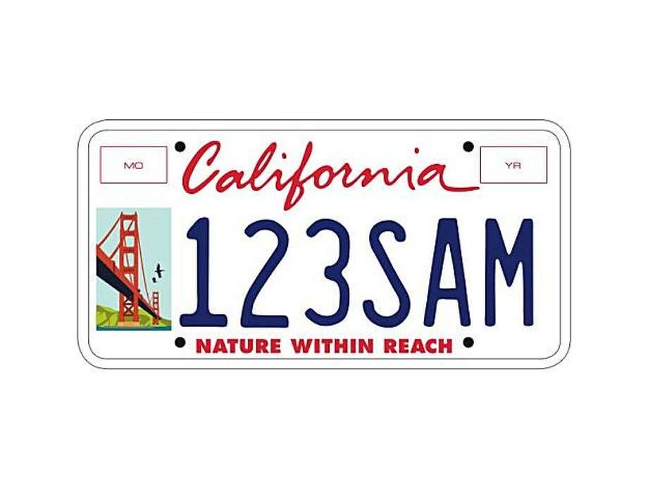 Design for the new GGNRA California license plate. Provided by the San Francisco Bay Area Conservancy Photo: Ho, S.F. Bay Area Conservancy
