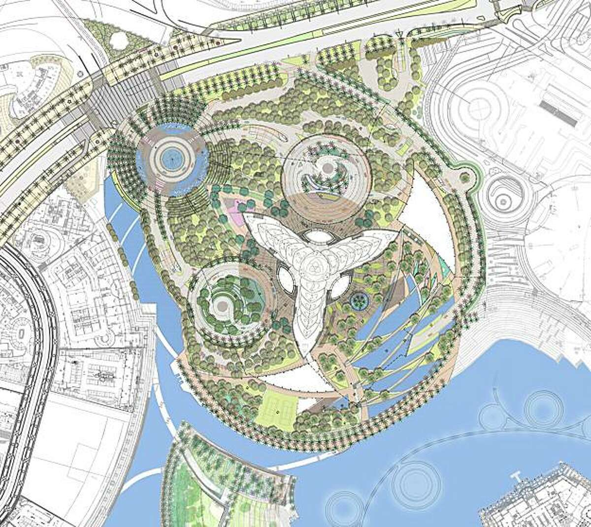 The site plan for the 27 acre park surrounding Burj Khalifa (the Y-shaped form in the middle). The park was designed by SWA Group, a Sausalito based landscape architecture firm.