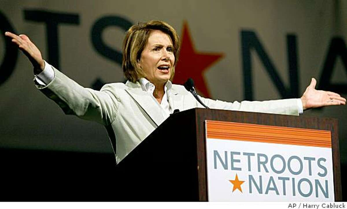 U.S. House Speaker Nancy Pelosi speaks during a meeting held by Netroots Nation, Saturday, July 19, 2008, in Austin, Texas. Pelosi is urging the left-leaning bloggers of Netroots Nation to help elect Democrat Barack Obama president to end the war in Iraq. (AP Photo/Harry Cabluck)