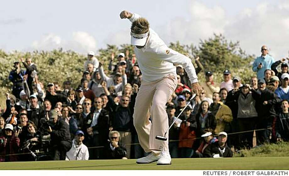 Ian Poulter of England reacts after his birdie putt on the 16th hole during final round play at the 2008 British Open Golf Championship at Royal Birkdale, Southport, northern England, July 20, 2008.     REUTERS/Robert Galbraith (BRITAIN) Photo: ROBERT GALBRAITH, REUTERS