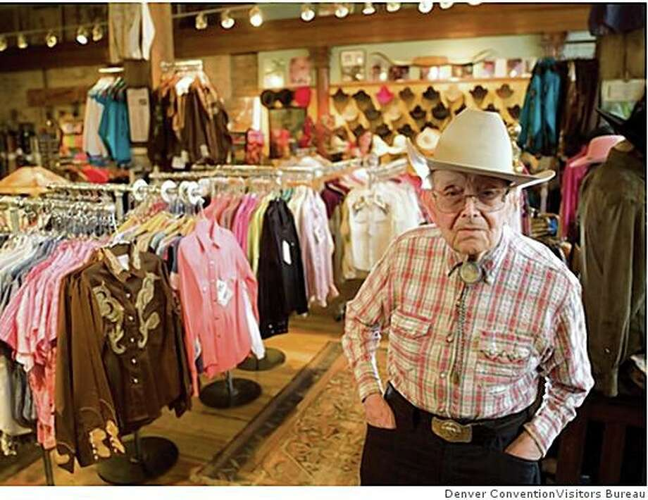 �Papa Jack� Weil, 107, has shown up for work at the store he founded, Rockmount Ranch Wear, every day for the past 60 years. Weil popularized the snap-button Western shirt. Photo: Denver ConventionVisitors Bureau, Denver Metro Convention & Visito