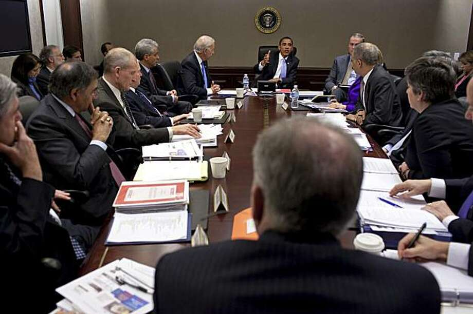 In this image released by the White House, President Barack Obama meets with his national security team in the Situation Room of the White House Tuesday, Jan. 5, 2010, in Washington about the failed attempt to destroy a Detroit-bound U.S. airliner on Christmas Day. (AP Photo/The White House, Pete Souza) Photo: Pete Souza, AP