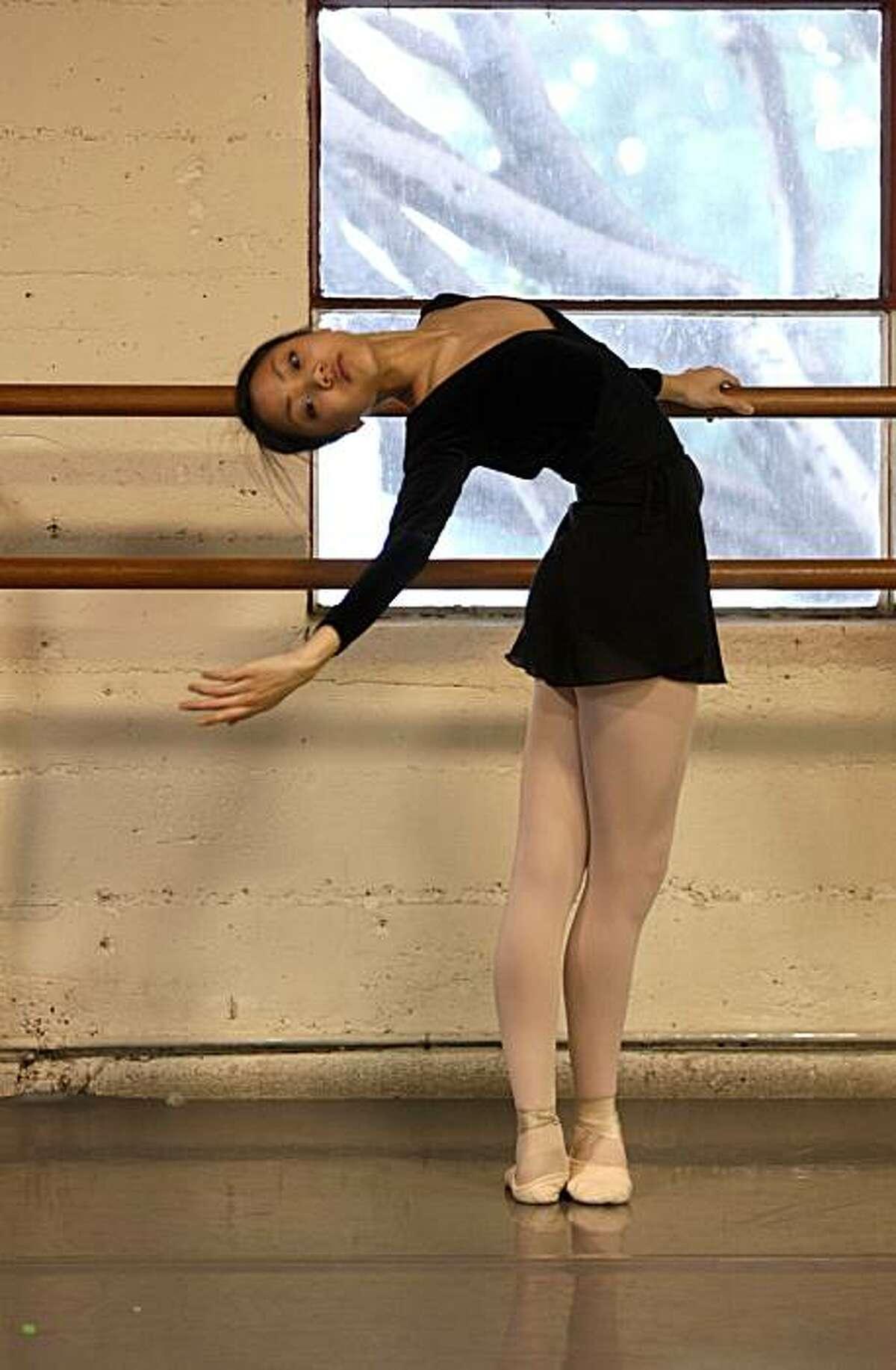 Jeraldine Mendoza takes a ballet class at the City Ballet School with City Ballet School resident choreographer Yuri Zhukov (not shown) in San Francisco, Calif. on Tuesday January 6, 2010.