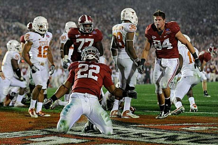 PASADENA, CA - JANUARY 07:  Running back Mark Ingram #22 of the Alabama Crimson Tide celebrates after scoring in the fourth quarter against the Texas Longhorns during the Citi BCS National Championship game at the Rose Bowl on January 7, 2010 in Pasadena,California. Photo: Kevork Djansezian, Getty Images