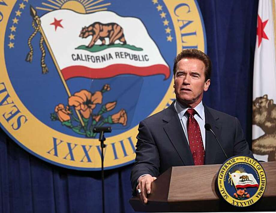 Gov. Arnold Schwarzenegger discusses his proposed 2010-11 state budget during a news conference in Sacramento, Calif., Friday, Jan. 8, 2010.  Schwarzenegger unveiled a $82.9 billion general fund spending plan that makes cuts to health and human services,welfare, prisons, transportation and environmental programs. Photo: Rich Pedroncelli, AP