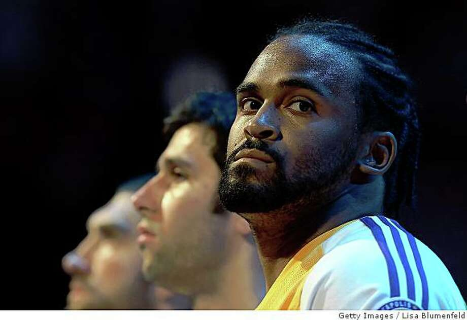 Ronny Turiaf of the Los Angeles Lakers looks on during the national anthem before taking on the Boston Celtics in Game Four of the 2008 NBA Finals on June 12. Photo: Getty Images