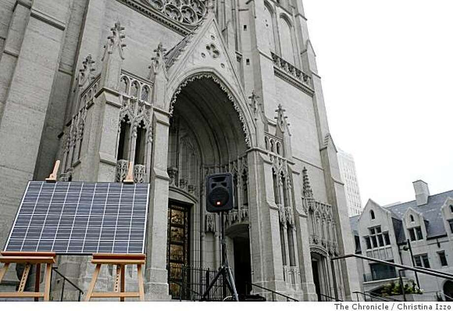 A new plan announced that Grace Cathedral will be installing solar panels on Wednesday, July 16, 2008, San Francisco, Calif. A new plan was announced on Wednesday, July 16, 2008, to install solar panels on Grace Cathedral, San Francisco, Calif. Photo by Christina Izzo / The Chronicle Photo: Christina Izzo, The Chronicle