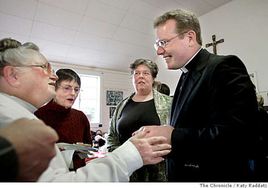 ames Tramel meets some of his parishioners, including Joyce Schnobrick, the lady in the white windbreaker on the  left.  James Tramel has been imprisoned for 18 years for 2nd degree murder.  While imprisoned Tramel was ordained, and reached Episcopal Church of the Good Shepard parishioners via telephone 4 times per year.  Now Tramel is paroled, and meets in person his parishioners at a reception.  Photo taken on 3/12/06, in BERKELEY, CA.By Katy Raddatz / The San Francisco Chronicle Photo: Katy Raddatz, The Chronicle
