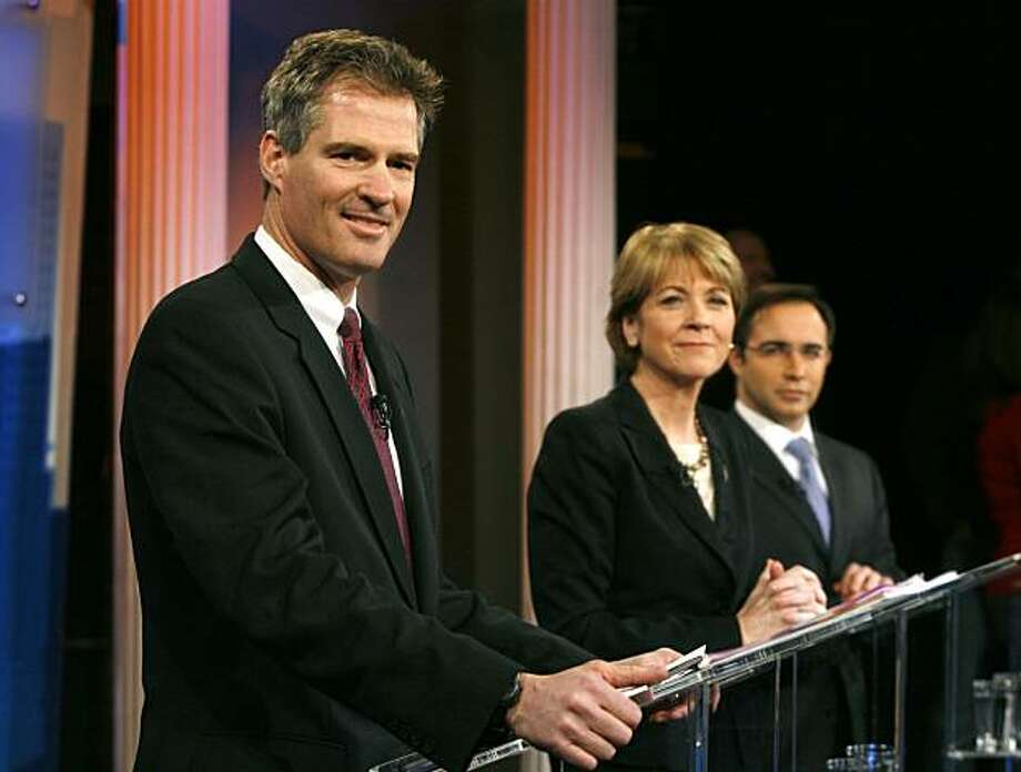 Candidates for the U.S. Senate seat left vacant by the death of Sen. Edward M. Kennedy, D-Mass., from the left, Republican candidate Scott Brown, Democratic candidate Martha Coakley, and Joseph L. Kennedy, a Libertarian candidate running as an independent and who is no relation to the late senator, make last minute preparations before a debate is taped at the WBZ-TV studios in Boston, Tuesday, Dec. 22, 2009.  (AP Photo/Steven Senne) Photo: Steven Senne, AP